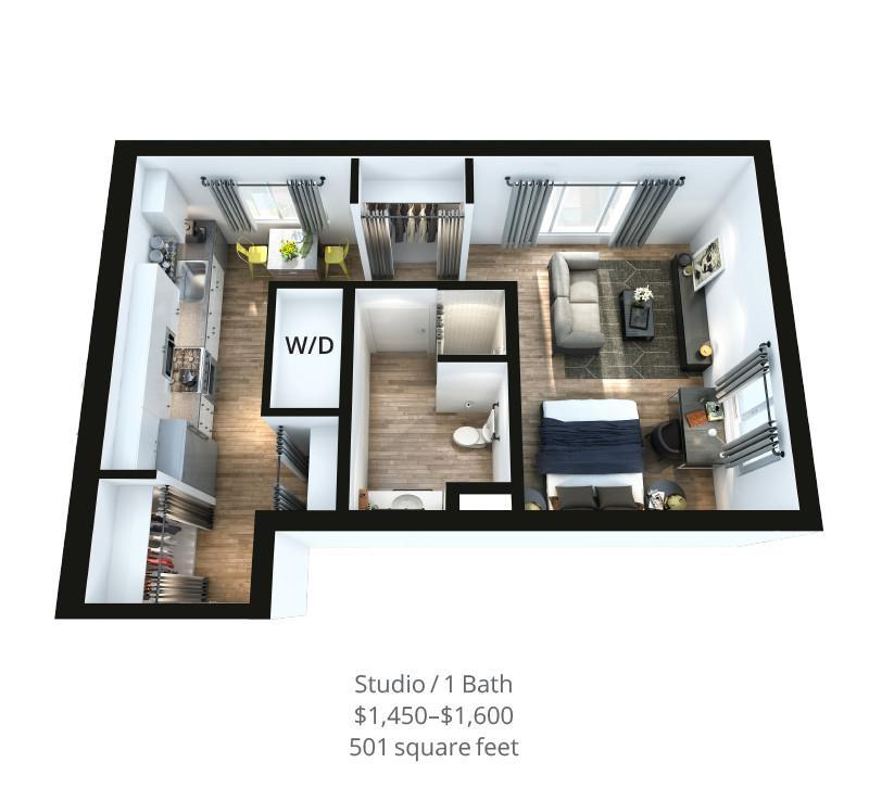 828 Lofts Unit-A2-2 render